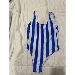 Royal blue & white striped one piece bathing suit